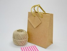 Sacs papier kraft shopping bag poignée coton