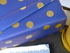 Deep blue powdered gold polka dots rolls sheets 50cm 70cm