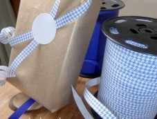 ginham fancy decorative ribbons bleu white 10mm counter rolls