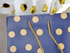 Polka dots bleu gold shopping bags gift luxury MM L