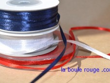 Satin Ruban 3 mm double face Jaune Bleu Blanc Rouge 50m Bobine