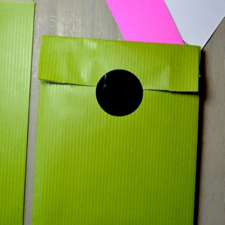 Kiwi green printed gift paper bags Made in France MIF size Xs to XL