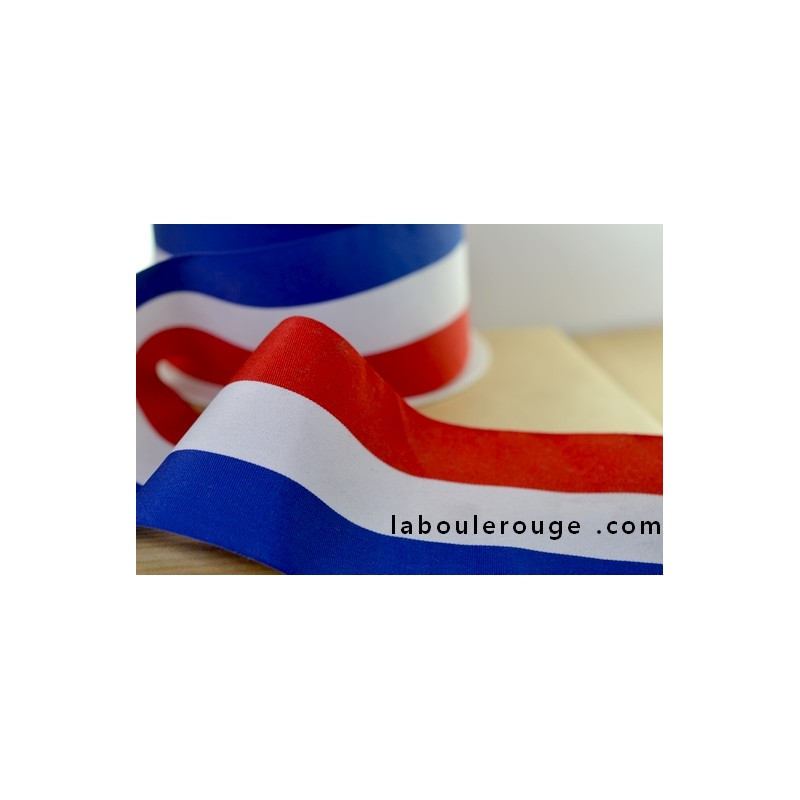 Gift Wrapping Tricolor Ribbon Bleu White Red Stripped