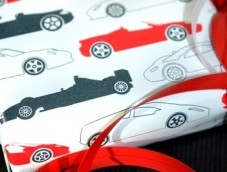 Gift wrap paper with racing cars vehicles MIF grey black red white 70cm 50m rolls