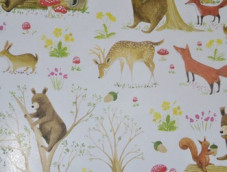 Gift wrapping paper 70cm rolls children forest foxes birds blue trees blue