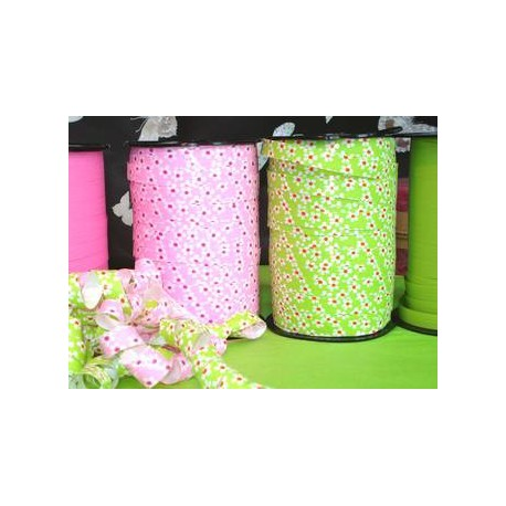 Fancy decorative ribbons flowers blue green pink MIF 10mm