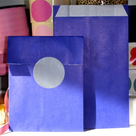 Polka dots blue and gold paper bags