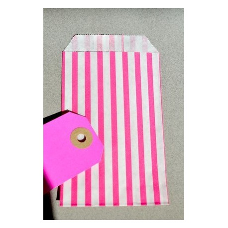 Striped paper bags XS pink green white