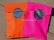 Metal gift bags neon pink green orange red gold XS
